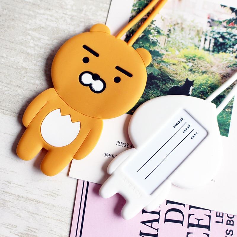 Travel Accessories Cartoon Silica Gel Bear Luggage Tag Women Portable Label Suitcase ID Address Holder Baggage Boarding