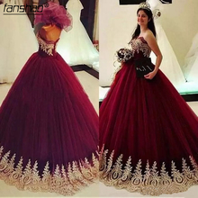 Ball-Gowns Prom-Dresses Anos Tulle Gold Burgundy Sweet 16 Appliques Vestidos-De-15 Pageant
