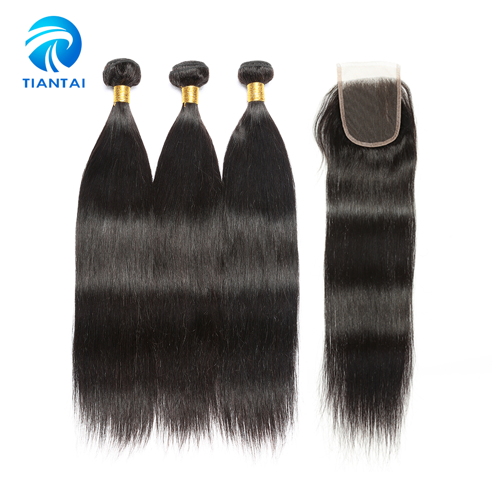 Malaysian Straight Human Hair Weave with Closure 3 Bundels with 4 4 Lace Closure Remy Nature