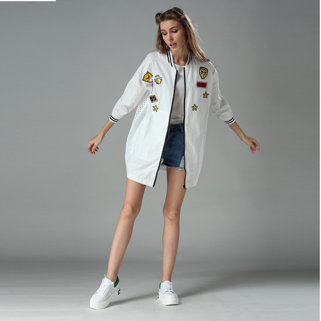2016 High quality Spring Summer New Mid Long Style Patchwork Coats Loose Outerwear White Mesh & Lace Coat Women Casual Jacket