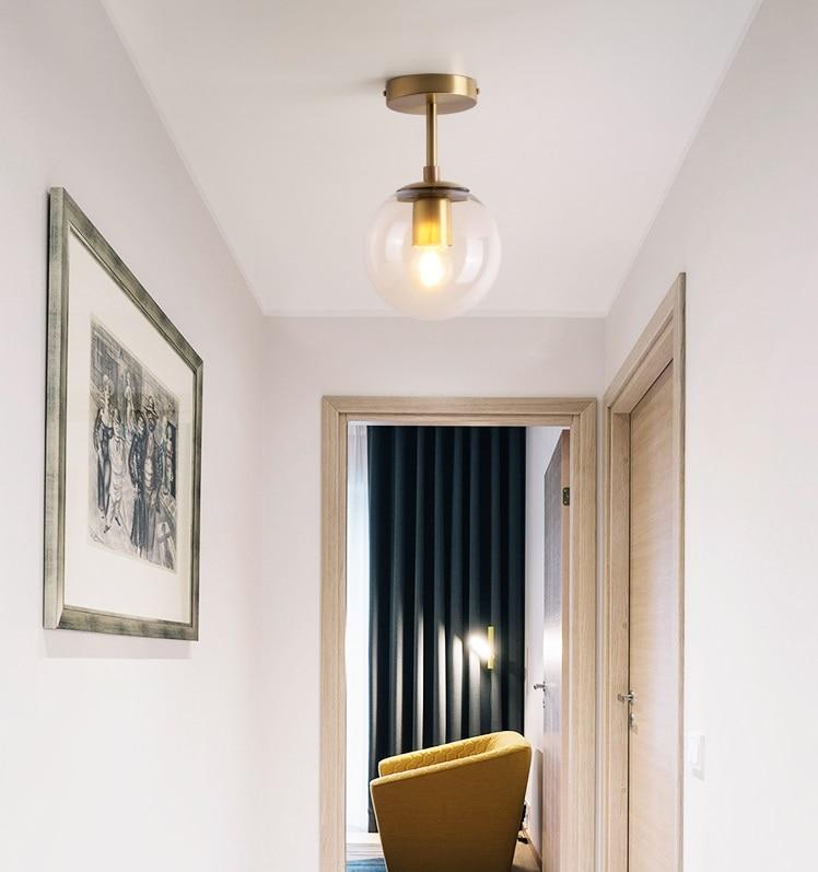 Vintage Ceiling Lights | Antique Brass Ceiling Lights | Nordic Glass Ball LED Ceiling Lights Balcony Porch Aisle Bedroom Copper Retro Vintage Ceiling Lamps Plafonnier Lighting 001