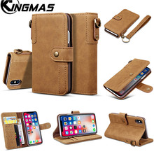 KINGMAS Leather wallet phone case for iPhone 5S SE 6 6S 7 8 plus X XS XR MAX phone panel bracket bank card slot portable flip
