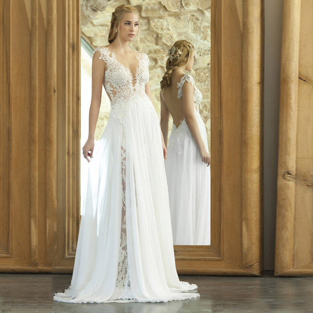 Backless Beach Wedding Dresses V Neck Flowing Vintage Boho: Vestido De Noiva Vintage Bohemian Lace Wedding Dress 2017