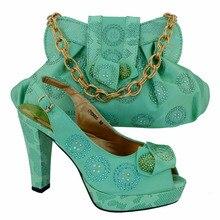Freies Verschiffen, Mode Frau Italienischen Passenden Schuhe Und Taschen, Party Schuh Und Tasche Set Mit Party Kleid. wasser grün Farbe! VL1-24