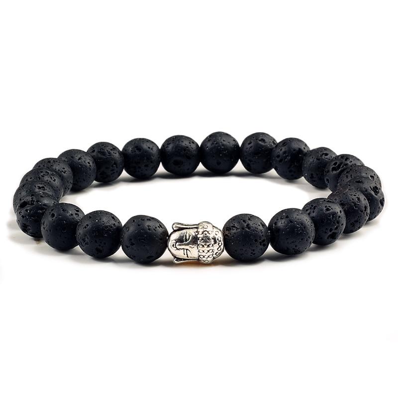 Vintage Antique Gold Silver Buddha Head Prayer Bracelets Women Men Natural Black Lava Volcano Stone Matte Beads Charm Bracelet