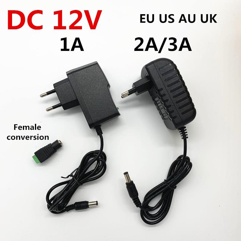 Carregador do conversor do adaptador 12 volts 12 v para luzes conduzidas da tira ac 110 v 220 v à fonte de alimentação do transformador da c.c. 12 v 1a 2a 3a