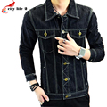 2016 Autumn New Men's Slim Lapel Denim Jacket Metrosexual Outerwear Male Jeans Black Fashion Coat Jacket Cowboy Plus Size M-3XL