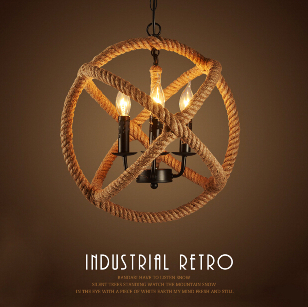 American Country Loft Style Rope Chandelier Creative Personality Restaurant Bar Cafe Hemp Rope Decoration Lamp Free Shipping rural pastoral creative restaurant cafe personality wrought iron rope chandelier lamp internet cafe bar loft hemp rope lamp