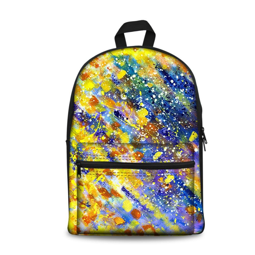 ThiKin многоцветный подростковый Мальчики девчачье рюкзак печать художника холст школьная сумка рюкзак прочный детский мешок с карманом
