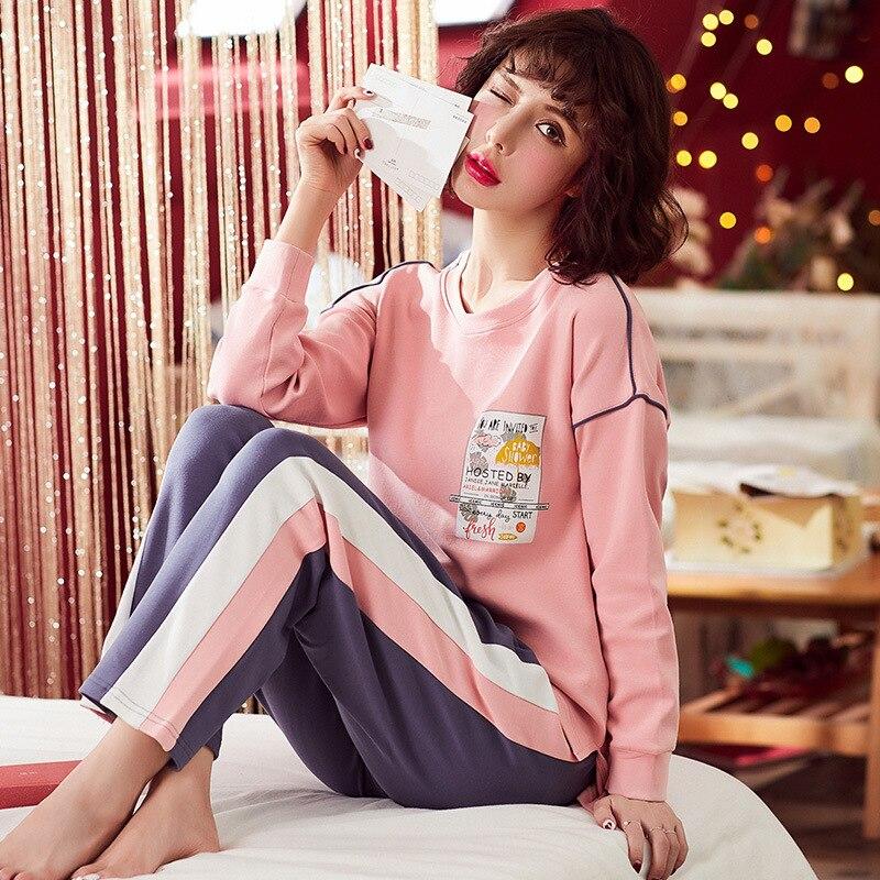 DANNSKARL Cotton   Pajamas   Female Spring Autumn Long-Sleeve Plus Size Sleepwear   Pajama     Sets   Lounge   Set   Female Pyjamas Home Clothes