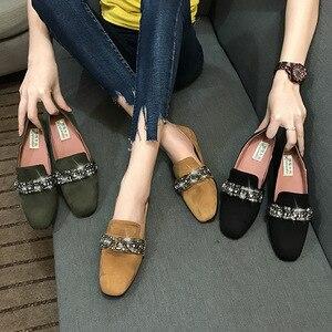 Image 3 - 女性ソフト底の正方形のつま先モカシン女性クリスタルローファー韓国スタイルビッグサイズ妊婦靴女性の快適駆動靴