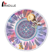 Miracille Dream Catcher Microfiber Round Beach Towel Summer Big Picnic Cloth Blanket Soft Yoga Mat With Tassels For Adults