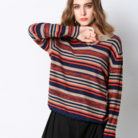 2019 New coming spring Pullovers Womens Sweaters fashion stripe long sleeve Korean Jumper Knitted Sweater loose Femme sweater