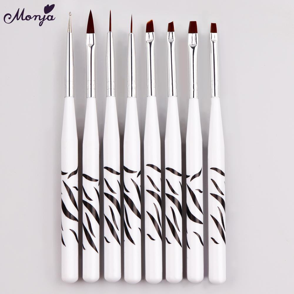 Monja 8pcs/set Nail Art Acrylic Liquid Powder French Stripes Lines Liner Painting Design Brush Dotting Picking Pen Manicure Tool
