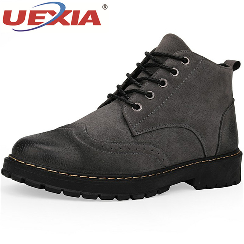 UEXIA Leather Men Boots Autumn Casual Flats Ankle Boots Fashion Footwear Lace Up Shoes Men High Quality Vintage Men Shoes Dress new high quality casual boots men leather flats lace up men ankle boots winter autumn men s shoes casual short boots fashion