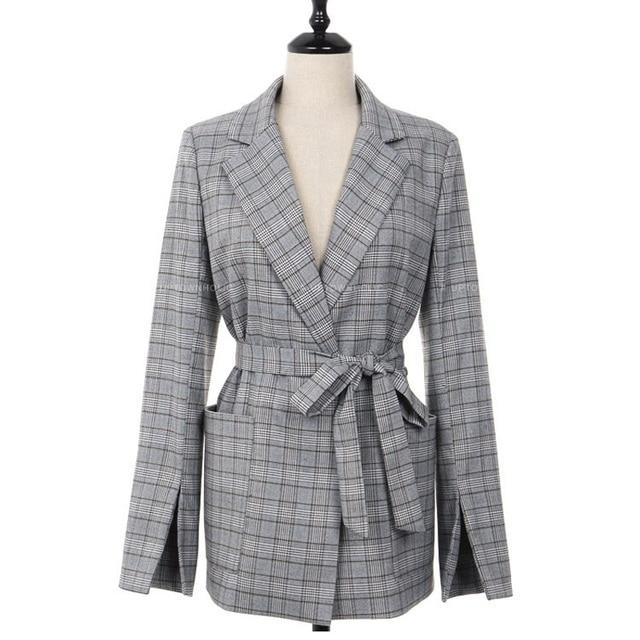 2018 New Fashion Elegant Gray Plaid Office Lady Blazer 2