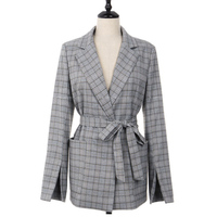2017 New Autumn Winter Women Gray Plaid Office Blazer With Sashes Split Sleeve Jackets Elegant Slim