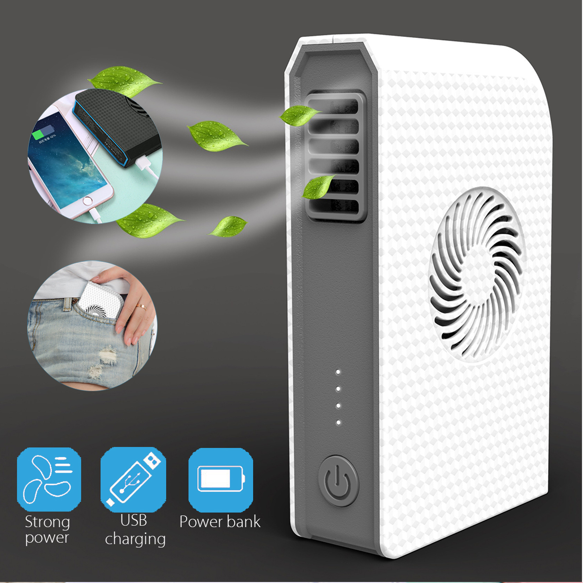 3 Speeds Mini Portable Handheld USB Rechargeable Bladeless Cooler Fan with 6000mAh Power Bank for Mobile Cell Phone блендер philips hr 1608