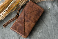 Luxury Handmade 100% Genuine Cowhide Leather Portomonee Vintage Wallet Male Wallet Men Long Clutch with Coin Purse Pocket Rfid