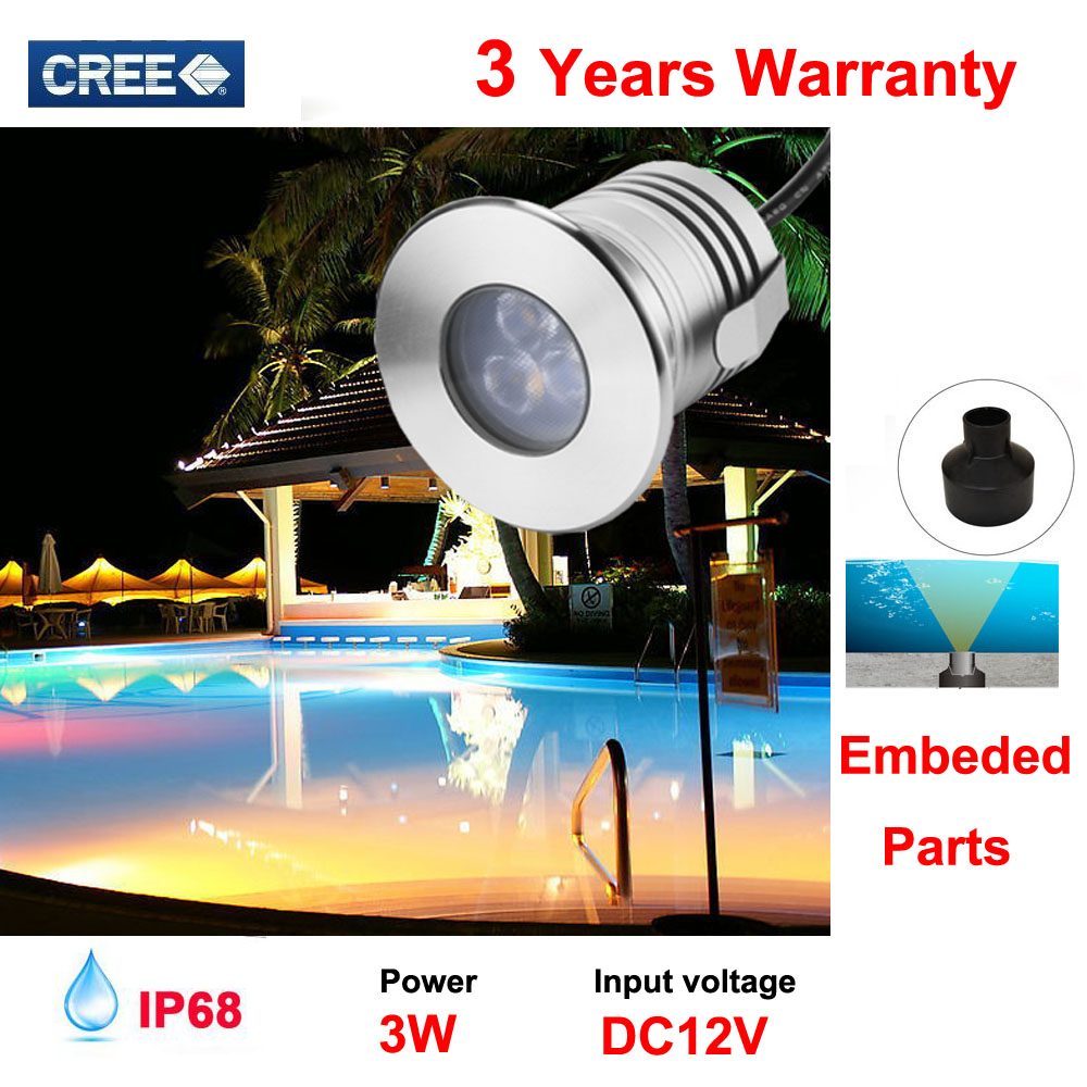 Stainless Steel 12V IP68 Waterproof LED Underwater Swimming Pool Light Lamp 3W Spa sauna Lake Yard Pond fountain Lighting Bulb