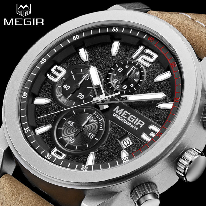 Prix pour MEGIR Hommes de Casual Montre Chronographe De Mode Sport Montres Relogio Masculino Esportivo