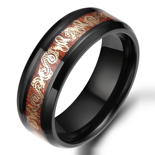 8MM Gold Dragon Inlay Titanium Ring Engagement Wedding Band Comfort Fit Fashion Men Jewelry For Party Wholesale