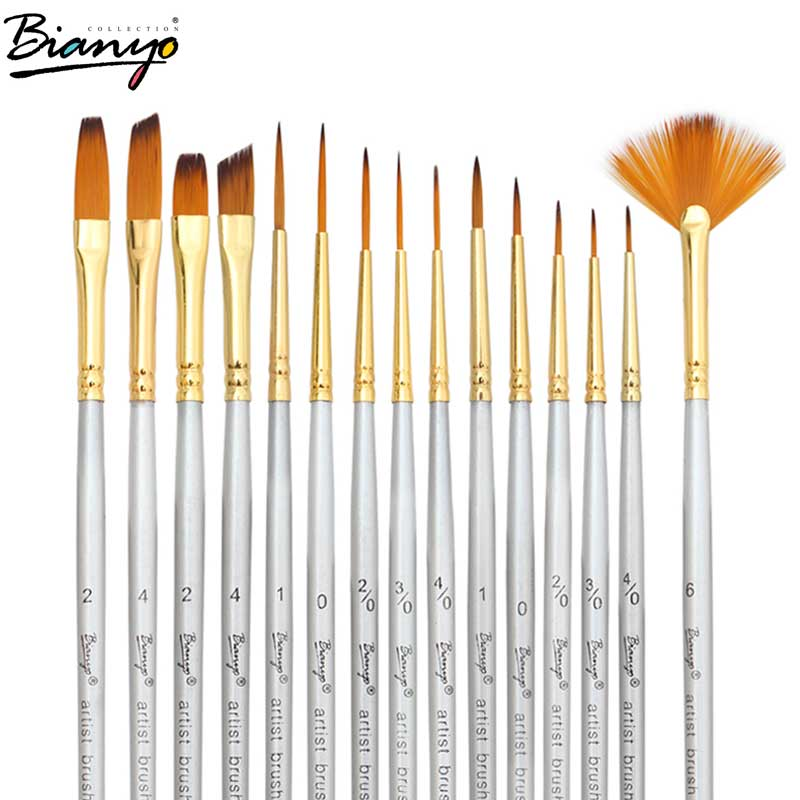 Bianyo 15Pcs Nylon Hair Wooden Handle Paint Brush Watercolor Oil Painting Acrylic Brush Pen For Children Drawing Art SuppliierBianyo 15Pcs Nylon Hair Wooden Handle Paint Brush Watercolor Oil Painting Acrylic Brush Pen For Children Drawing Art Suppliier