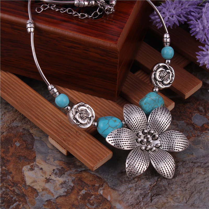 Women/'s Vintage Gypsy Turquoise Beads Pendant Tibetan Silver Necklace Jewellery