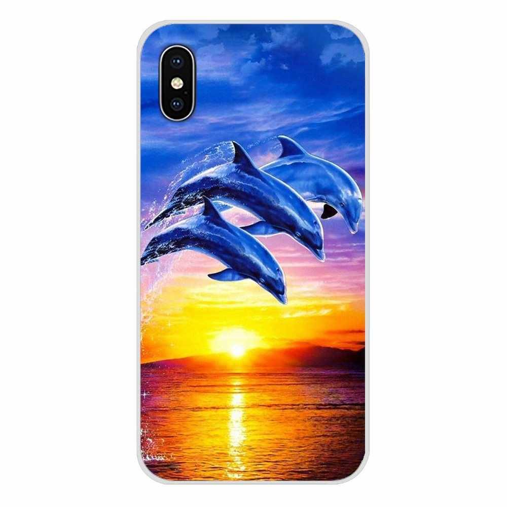 透明ソフトカバー海洋イルカダンスと Apple の Iphone 5 × XR ジャンプ XS 最大 4 4 S 5 5 S 5C SE 6 6 S 7 8 プラス ipod touch の 5 6