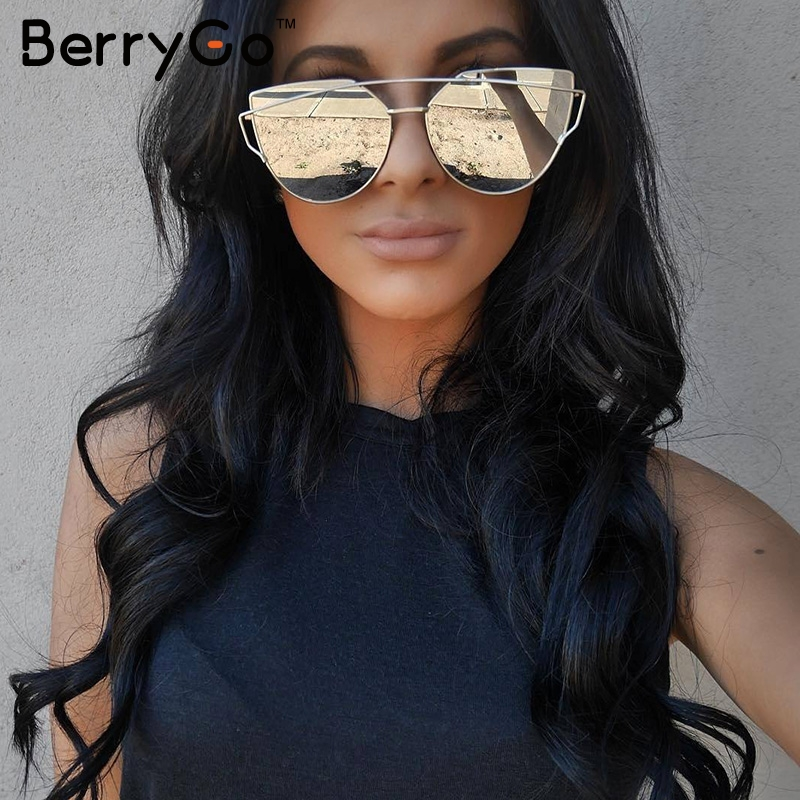 aba76ad3bbb67a BerryGo Fashion cat eye sunglasses women Twin-beams photochromic sun glasses  Golden alloy frame glasses