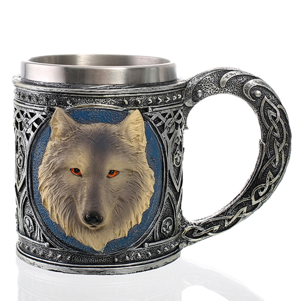 Retro 3D Wolf King Beer Mugs Resin Stainless Steel Coffee Tea Drinking Cup Personalized Gift Unique collection  decoration