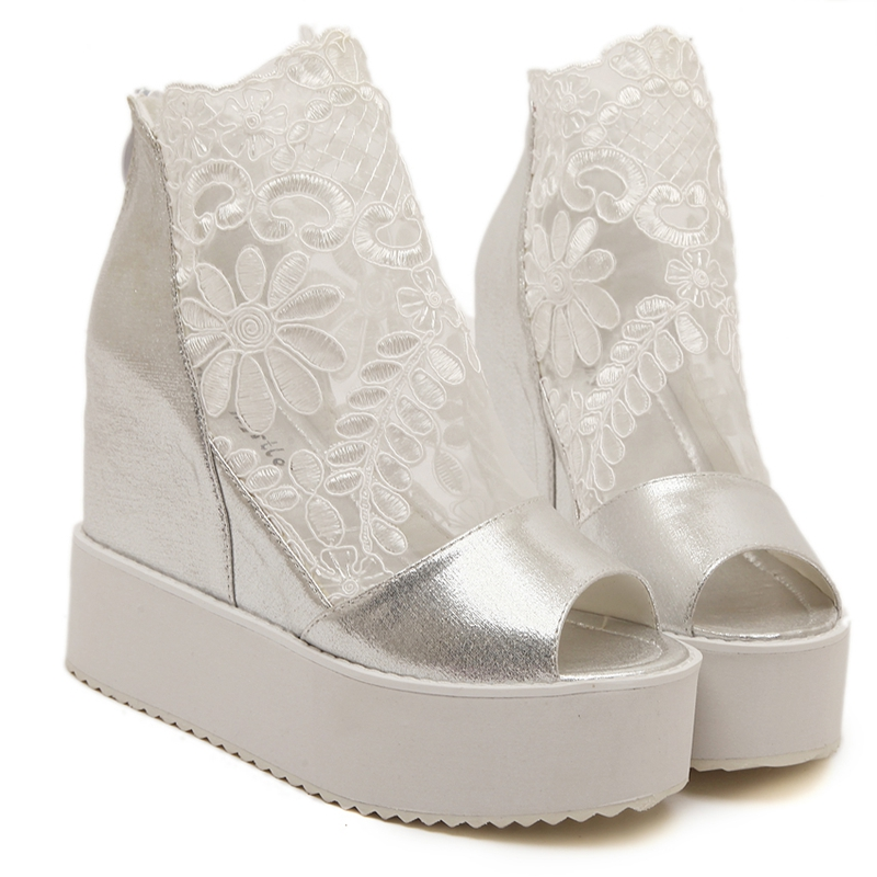 white silver pu lace women wedding shoes wedges heels high heel platform bridal shoes peep toes