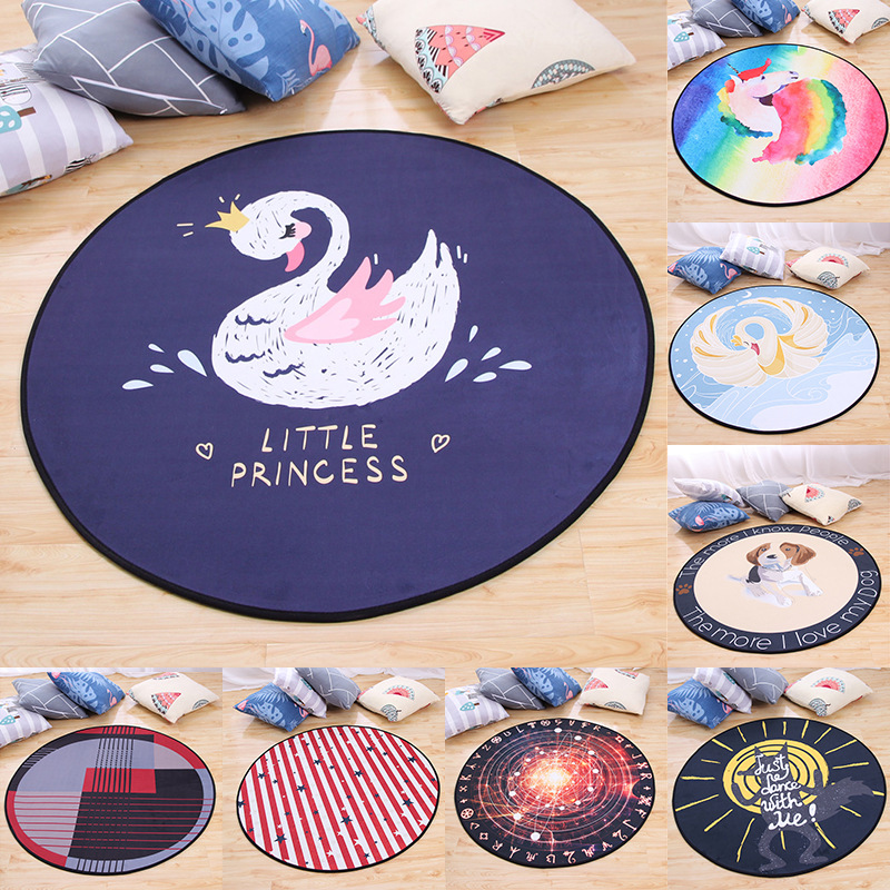 Nordic Cute Cartoon Round Carpets For Living Room Bedroom Area Rugs Child Room Play Tent Carpet Kids Crawl Soft Floor Mat Tapis