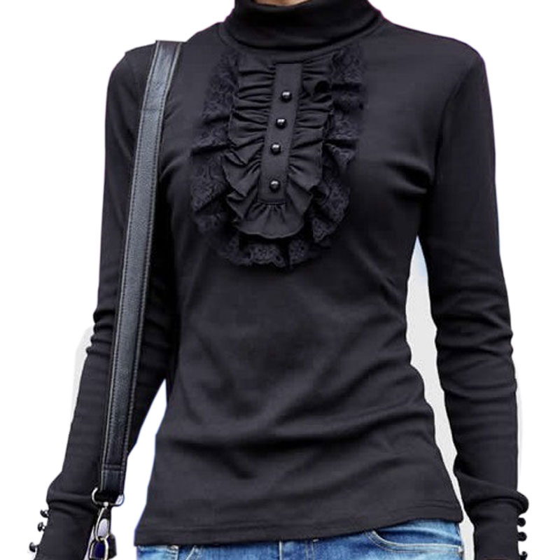 Turtleneck vintage lace shirt women long sleeve patchwork for Long sleeve black turtleneck shirt