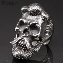 Gothic Skull Beard Mens Ring Heavy Stainless Steel Biker Jewelry Ring Man Vintage Gifts Rings For Men Band Jewellery Accessories(China)
