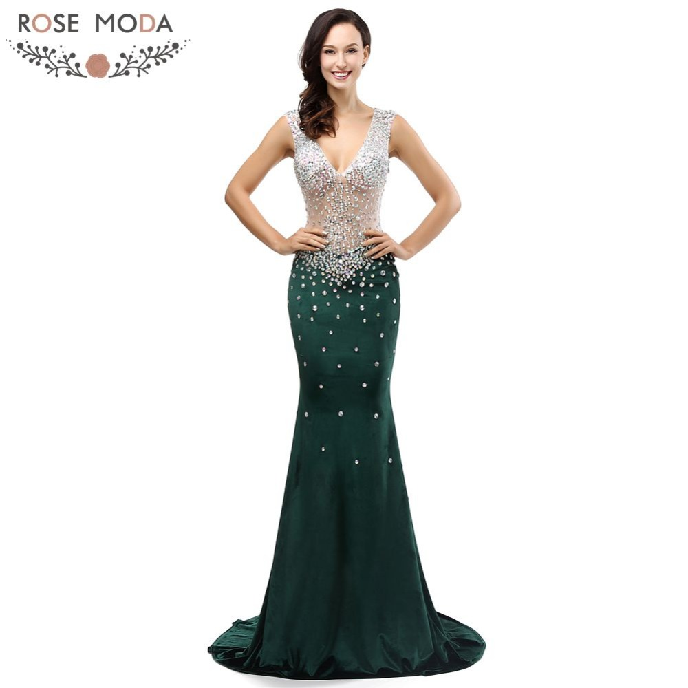 Rose Moda Bling Sexy Velour Bottle Green Mermaid   Evening     Dress   2018 Backless Long Formal   Evening     Dresses   with Crystals