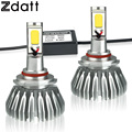 Zdatt 2Pcs 9005 HB3 Led COB Car Bulb 60W 6000LM High Power Automobiles Headlights 6000K High Beam Headlamp