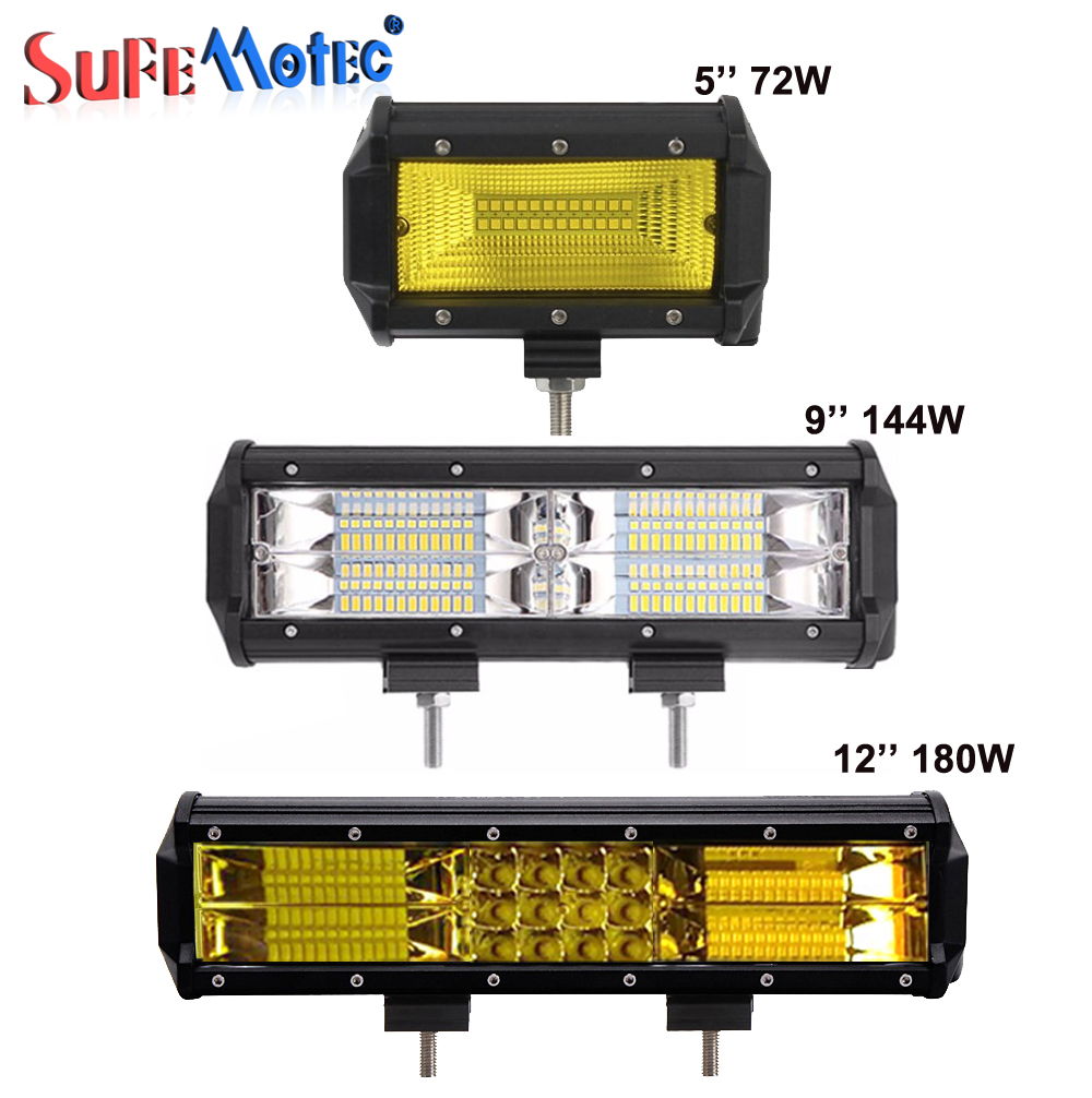 SufeMotec 5 inch 12inch 72W 144W 180W LED Light Bar Spot Flood Beam For Offroad 4X4 Trucks Driving Work Fog Pick Up Lamp 12V 24V встраиваемая посудомоечная машина bosch smv 46cx03 e