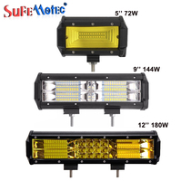 SufeMotec 5 Inch 12inch 72W 144W 180W LED Light Bar Spot Flood Beam For Offroad 4X4