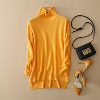 Spring And Winter Pullover Pure Cashmere Sweater Turtleneck Sweater Female Thickening Basic Sweater