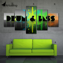 ArtSailing 5 Panel drum and bass music Painting Canvas Wall Art Picture Home Decor Living Room Print
