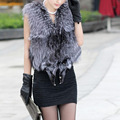 2016 Fashion Faux Fox Fur Sleeveless Vest Women Plus Size Vests Bowknot Winter Female Furry Mex Vest Furs Gilet Gray XXXL