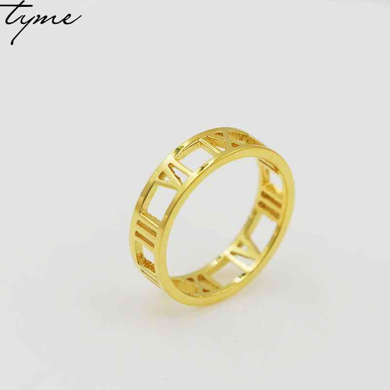 TYME fashion jewelry new Roman ring women men digital wide hollow ring finger titanium Gold-color and silver for lovers ring