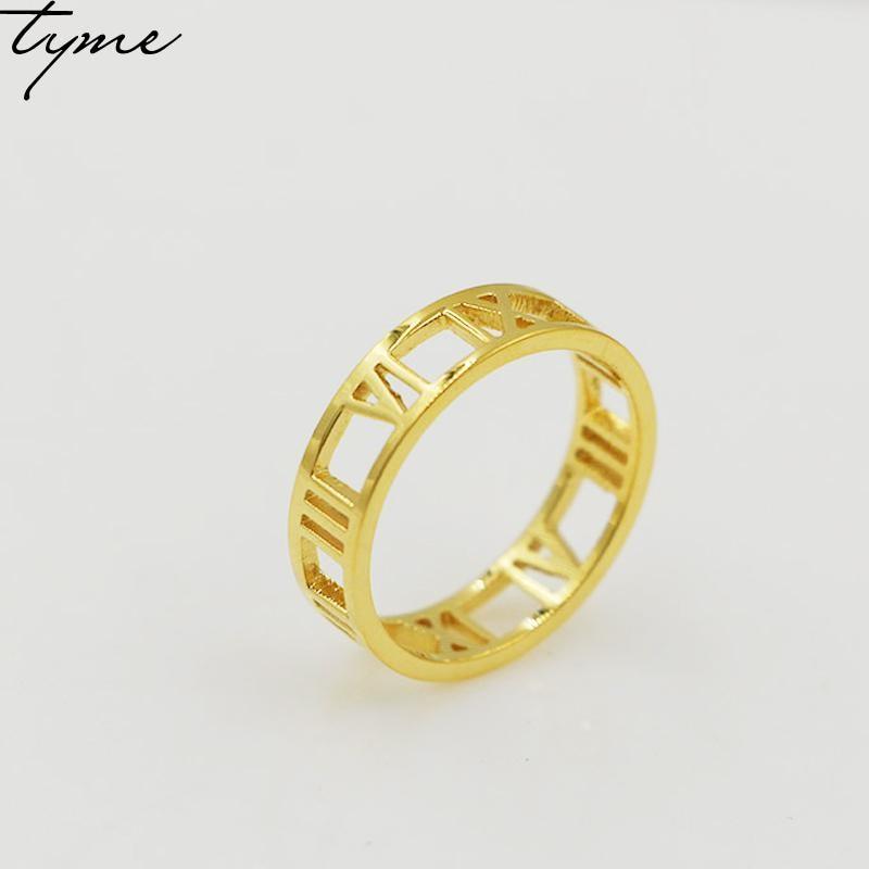TYME бижутерия новый римское кольцо женщины мужчины цифровой широкий полый безымянный палец титана золотистого цвета и серебра для любителей кольцо