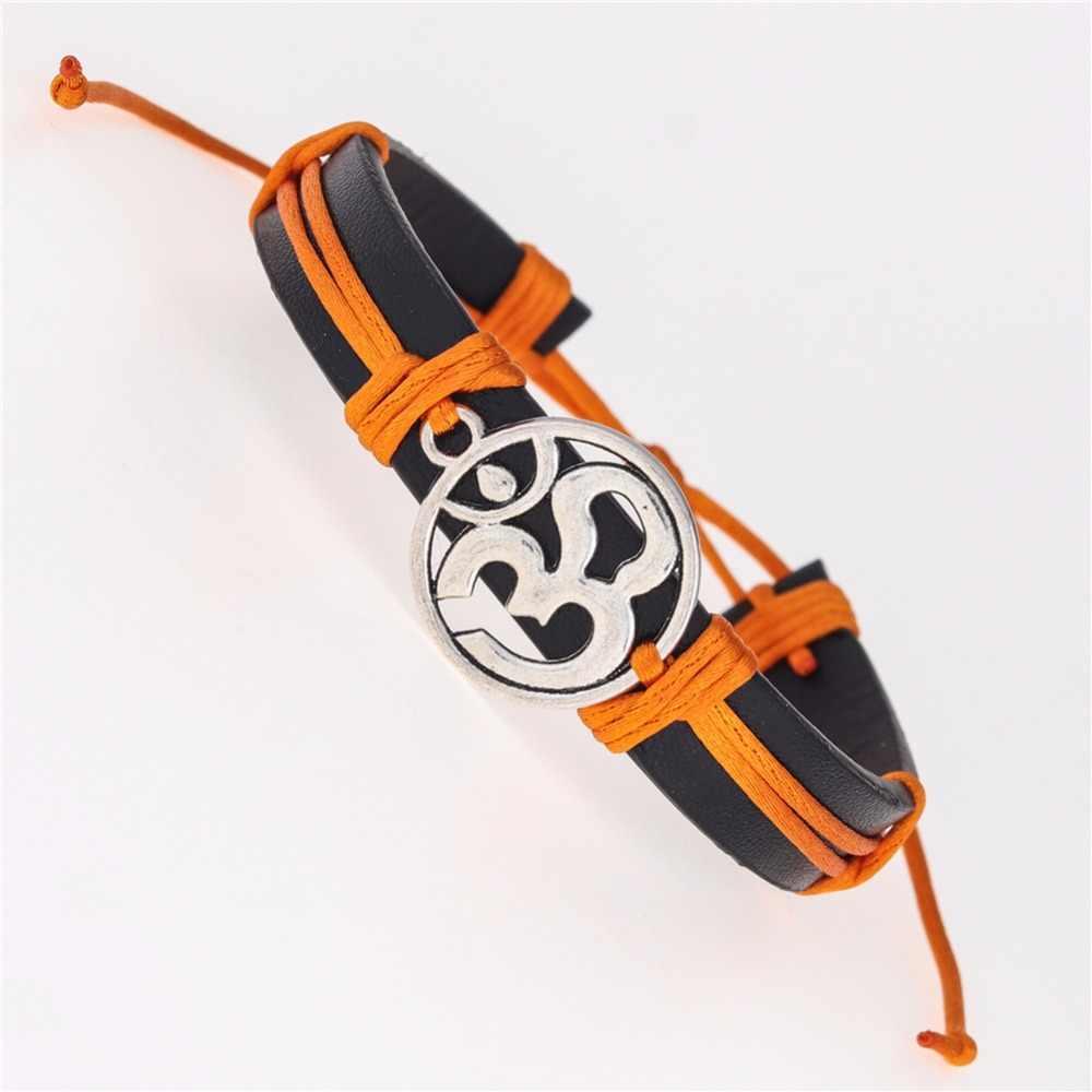 Античный серебряный цвет 3D подвеска Ом Braclet мала-Йога Chak браслеты из искусственной кожи ручной работы модные трендовые украшения подарок для влюбленных