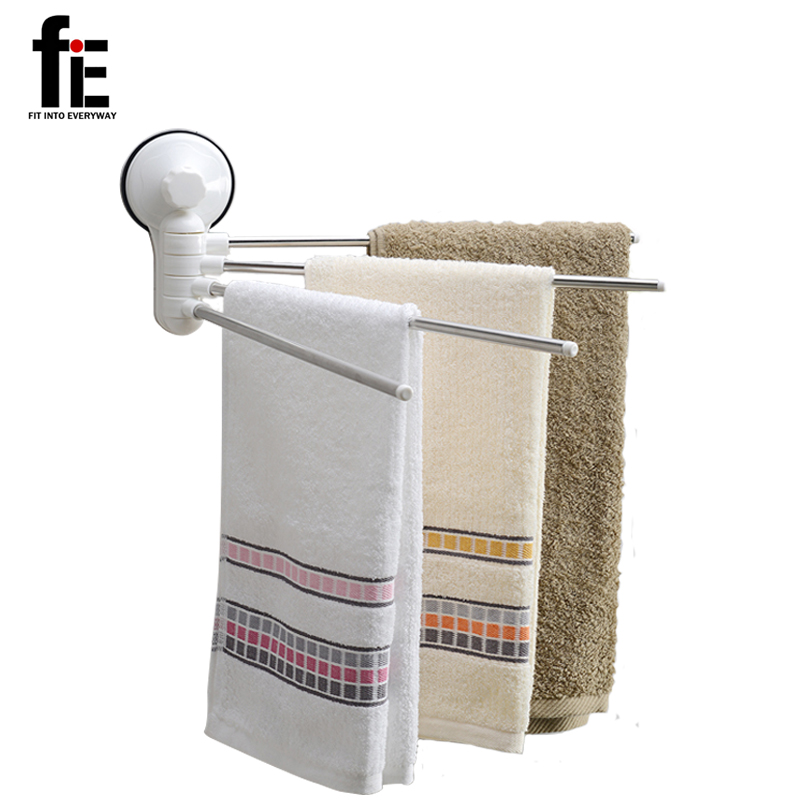 Fie 4 Swivel Bars Folding Movable Bath Towel Bar Wall Mounted Bathroom Towel Rail Rack Bath Room