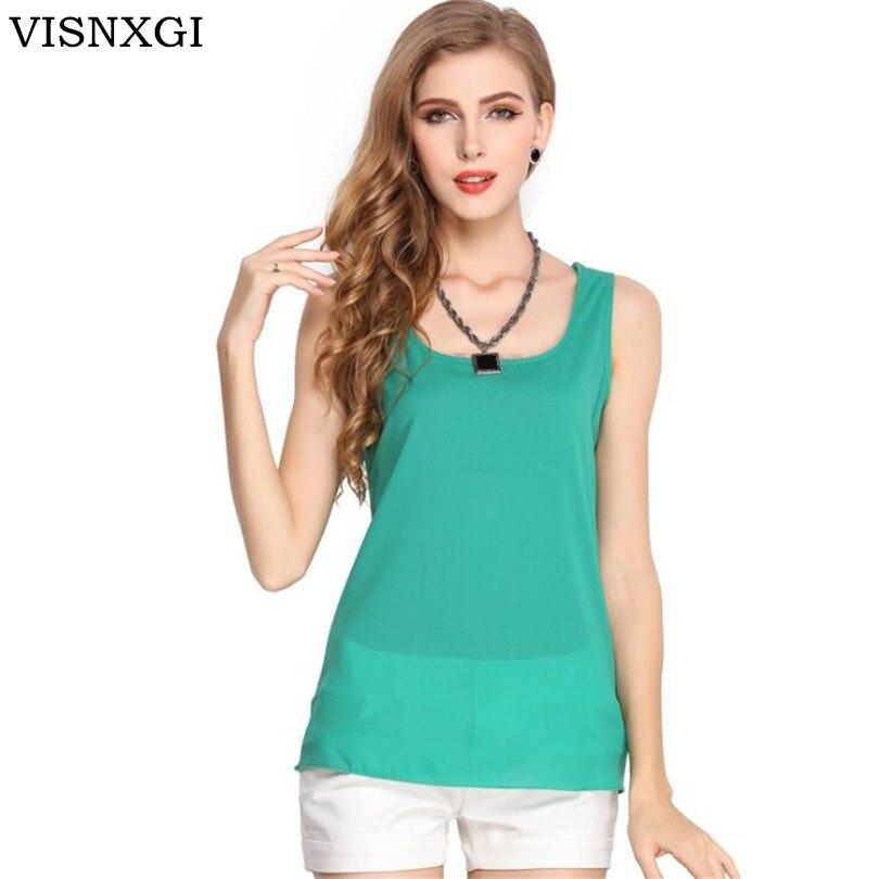 VISNXGI 2019 Summer New Women Fashion Chiffon   Tank     Tops   Jobs Vest Shirts Solid Candy 16 Color Camis Chiffon Loose   Top   Shirt
