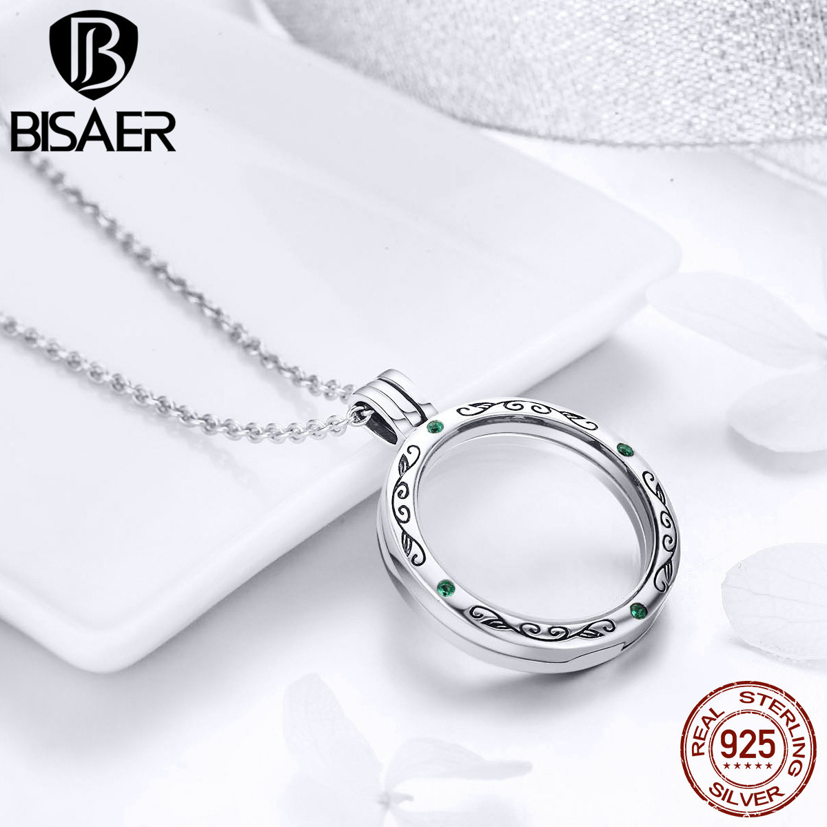 Authentic 100% 925 Sterling Silver Round Power Box Petite Memories Long Chain Necklace