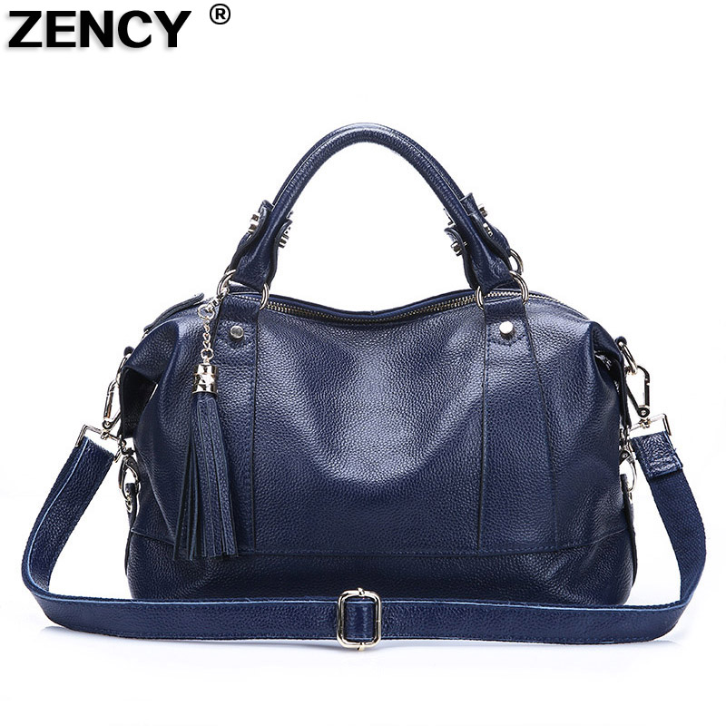 ZENCY Fashion Brand Soft Genuine Cow Leather Tassels Women Female Handbag Tote Shoulder Shopping Bag Ladies Girls Hobo Satchel-in Top-Handle Bags from Luggage & Bags    1