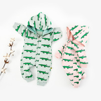 Newborn Baby Cartoon Rompers Crocodile Print Hooded Jumpsuit Infant Baby Long Sleeve Zipper Clothes